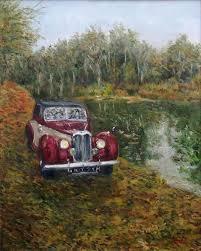 vintage riley car original framed oil painting landscape andi