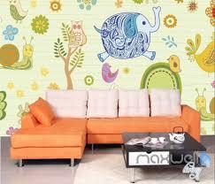 owl tree elephant rabit entire room wallpaper wall murals art