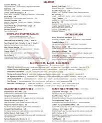 menu lunch dinner beach fire restaurant san clementebeach fire