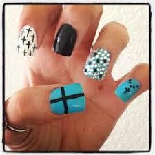 new pink and black rhinestoned cross nails nails pinterest