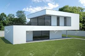exterior view modern house exterior view with lawn stock photo picture and