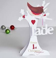 Goddaughter Christmas Ornaments Personalised 3d Paper Cut 1st Christmas Card For A Baby Daughter
