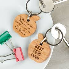 personalised wooden gift best teacher keyring apple gifts for