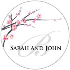 Stickers For Favors by Cherry Blossom With Monogram Stickers Shaped