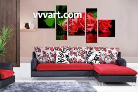 floral wall art shenra com 5 piece red rose floral canvas art prints