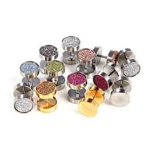 sided stud earrings rock hip hop side earrings sparkling dumbbell stud earring