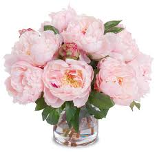 artificial peonies peony bouquet in cylinder vase pink transitional artificial