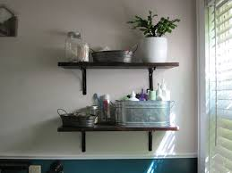 bathroom simple dark lacquered wood shelving for bathroom