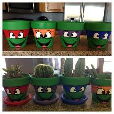 paint flower pots to look like teenage mutant ninja turtles diy