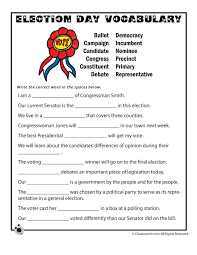 election day vocabulary worksheet woo jr kids activities