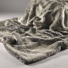 Faux Fox Fur Throw Silver Shadow Luxury Faux Fur Bed Runner Bed Throw