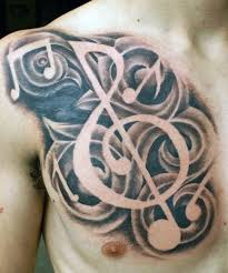 chest musical clef tattoos