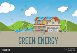 flat designed banners concept of eco energy an eco friendly house