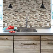 backsplashes countertops backsplashes the home depot muretto durango 10 20 in w x 9 10 in h peel and stick decorative mosaic