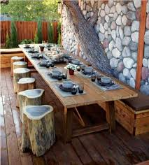 tree trunk dining table creative idea outdoor dining space with long brown wood dining