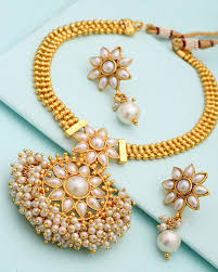 gold pearl necklace set images Buy gold plated pearl beaded floral necklace set online india voylla jpg