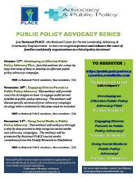 family organization national place presents public policy advocacy webinar series