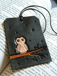 leather luggage tag white owl carved and tooled