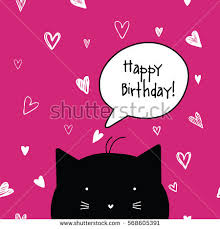 happy birthday card cat character template stock vector 575885431