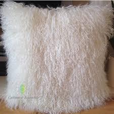 Mongolian Lamb Cushion Natural White 40 40cm Genuine Mongolian Sheepskin Lamb Fur Cushion