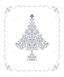 detailed silver tree ornament in a frame stock vector