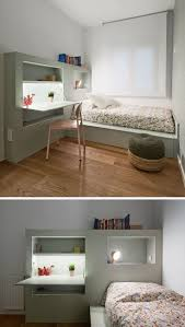 this small kids bedroom combines the bed frame a desk and this modern kids bedroom furniture has been designed to keep things organized with built in