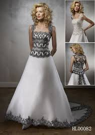 Black And White Wedding Dress White Wedding Gown With Black Lace