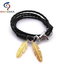 leather bracelet with charm images Gold feather bracelet handmade charm leather bracelet friendship jpg