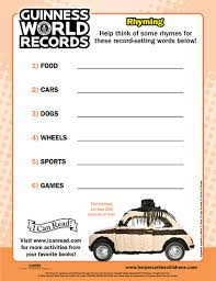 guinness world records rhyming printable activities icanread com