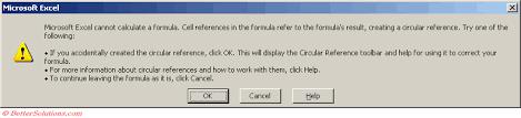 excel formulas circular references