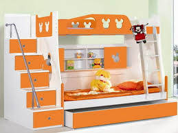 kids room bedroom cute orange and white themes with double