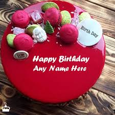 Happy Birthday Wishes Amazing Red Velvet Cake For Birthday Wishes With Name