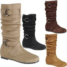 s boots buckle s slouchy mid calf boots cut out side zipper