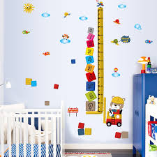Wall Decals For Nursery Boy Fundecor Animal Bulldozer Children Height Stickers Nursery Boy