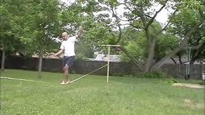 Backyard Slackline Without Trees Learning Slackline At Backyard Youtube
