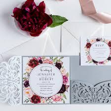 wedding invitations burgundy silver laser cut burgundy floral wedding invitations ewws177 as