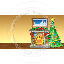 cartoon christmas scene with fireplace by clairev toon vectors