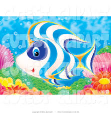 clip art of a cute white blue and orange tropical fish swimming