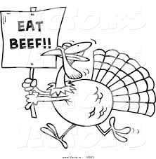 a turkey for thanksgiving book vector of a cartoon turkey with an eat beef sign coloring page