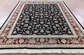 Black And Brown Area Rugs 8 U0027x10 U0027 Black Herati Design Floral Wool U0026 Silk Tabriz Hand Knotted