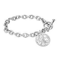 monogram charm sterling silver monogram charm bracelet