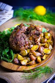 boneless roasted leg of lamb with potatoes and fennel what