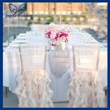 ruffled chair covers ch005e hot sale wholesale custom made fancy organza ruffled curly