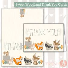 Baby Woodland Animals Baby Shower - instant download sweet woodland baby shower thank you note baby