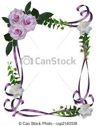 lavender roses wedding invitation border image and stock
