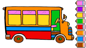 car and bus coloring pages drawing for kids learn colors youtube