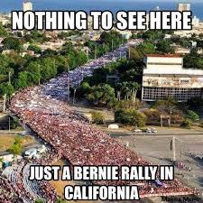 California Meme - a huge rally of bernie sanders in california