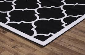 Large Modern Area Rugs Large Modern Geometric Moroccan Trellis Thin Carpet Black