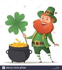 leprechaun with a pot of gold and four leaf clover and luck stock