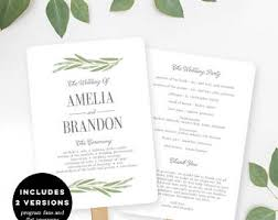 flat wedding programs wedding program fans etsy